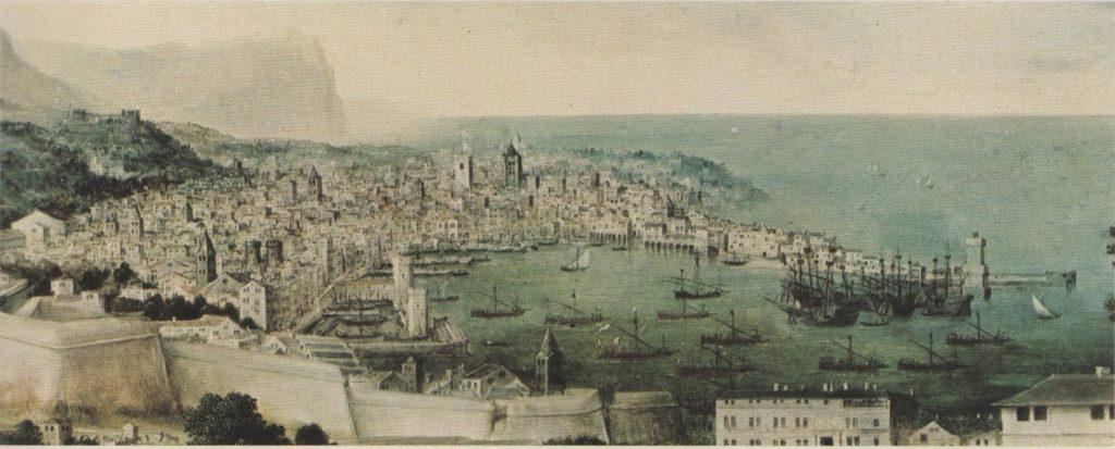 tela-Flora-con-veduta-di-Genova-di-Jan-Massys-1561-Stoccolma-Museo-Nazionale-porto-di-genova-1024x413
